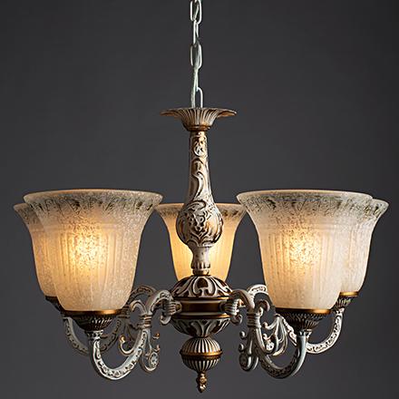 Delizia 5: Классическая подвесная люстра золото с белым ( ламп)