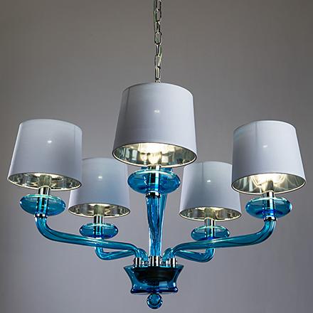 Подвесная люстра с абажурами (цвет хром/синий)