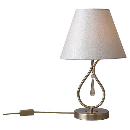 Настольная лампа с абажуром (латунь/бежевый)