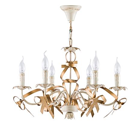 Classic Arco 6: Подвесная люстра со свечами и бантами (цвет кремовый с золотом)