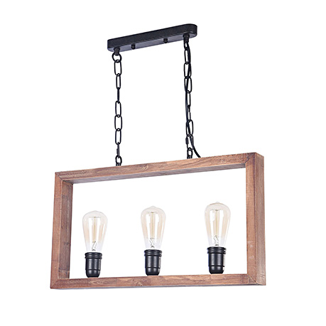 Подвес - три лампы в деревянной рамке