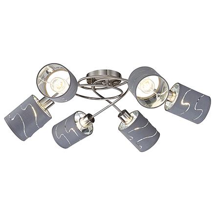 Modern Joell 6: Потолочная люстра с абажурами (никель/серый)