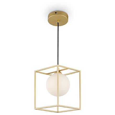Подвесной светильник с плафоном (золото/белый)