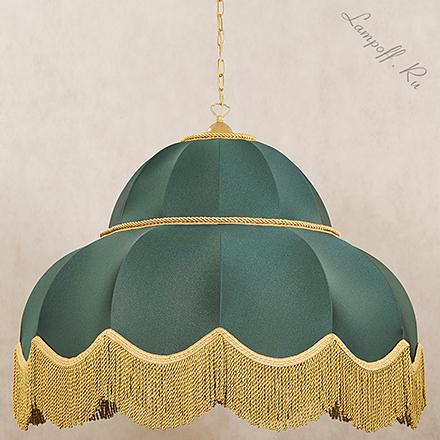 Большой подвесной зеленый ретро абажур