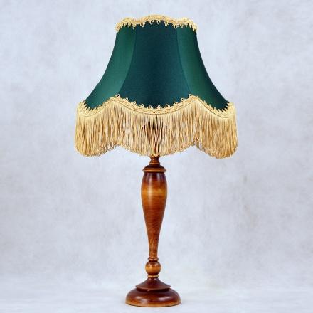 LN14-TR02-ZL: Ретро лампа с зеленым абажуром и бахромой