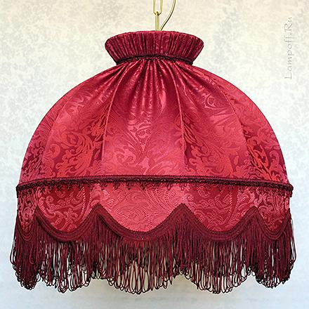 Бордовый абажур ретро тканевый с бахромой