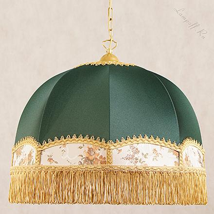 Zabava ZL-A: Подвесной абажур с бахромой в форме купола зеленого цвета