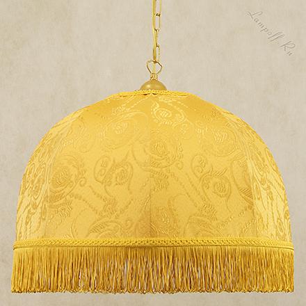 Подвесной желтый абажур-купол с бахромой в ретро стиле