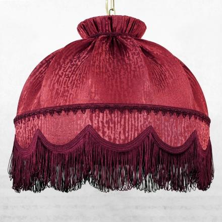 Подвесной бордовый абажур с бахромой