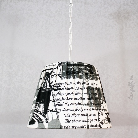 Подвесной абажур цвет белый с черным [Фото №2]