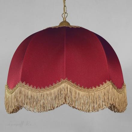 Бордовый абажур с волнистой бахромой