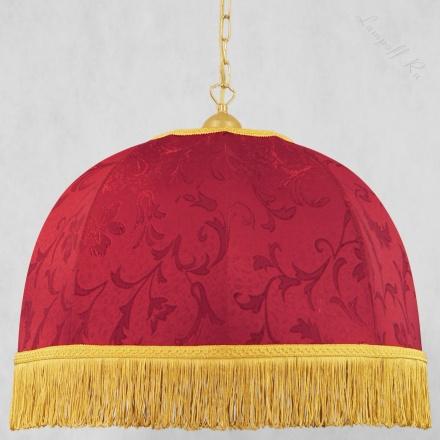 Подвесной бордовый ретро абажур с желтой бахромой