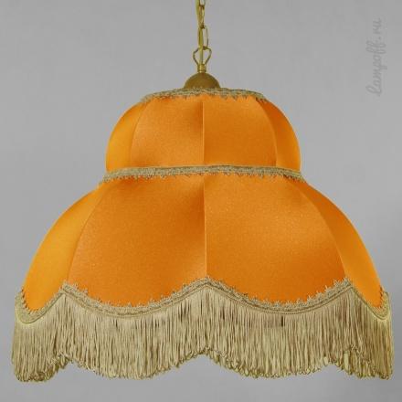 Оранжевый ретро-абажур с бахромой