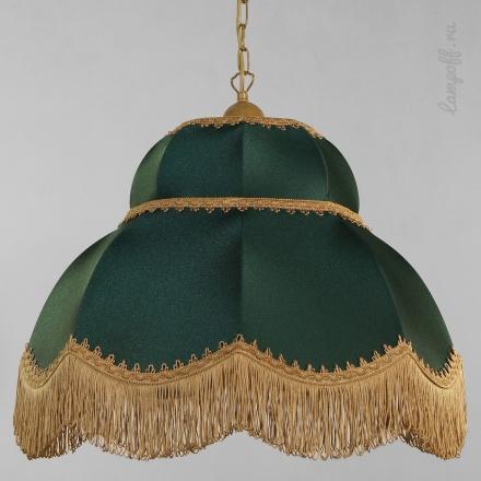 Подвесной зеленый ретро-абажур с бахромой