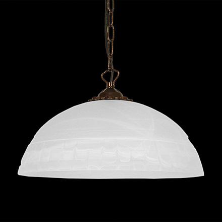 PP427-35-BM: Подвесной белый плафон с греческим рисунком диаметр 35 см
