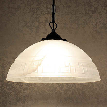 Подвесной белый плафон из стекла с меандром 30 см