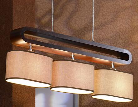 Подвесной светильник (цвет хром, дерево, бежевый)
