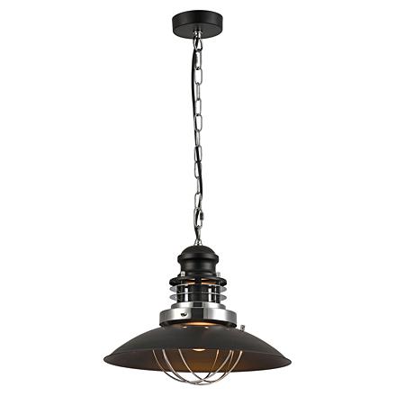 Подвесной плоский светильник-тарелка (черный)