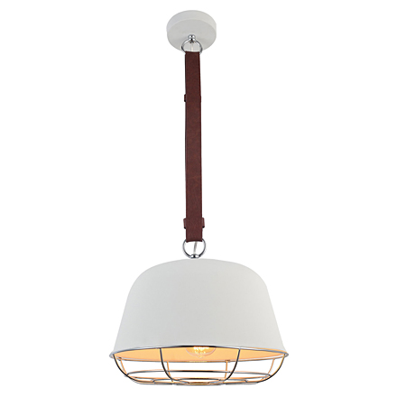 Белый подвесной светильник на ремне