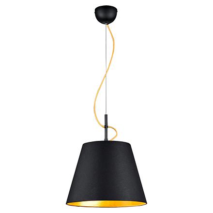 Подвесной черный абажур (внутри золото)