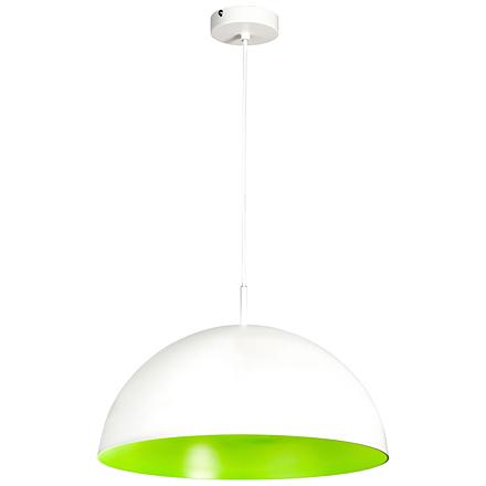 Подвесной белый плафон внутри зеленый-ядовитый