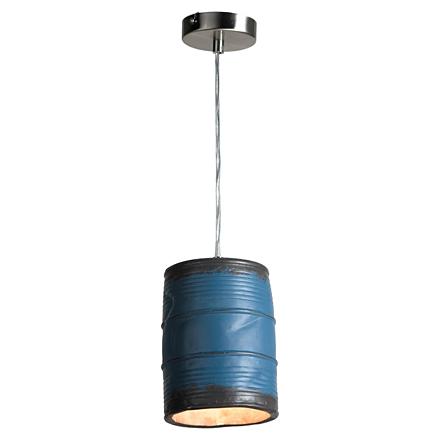 Подвесная бочка из металла декоративная (синяя)
