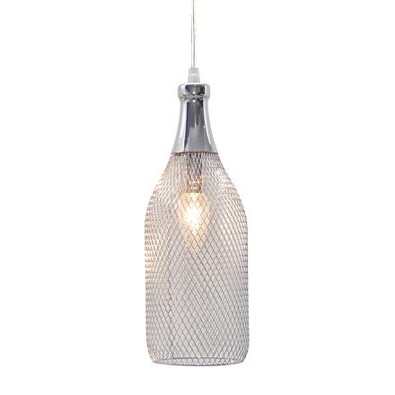 Светильник бутылка из хромированной сетки