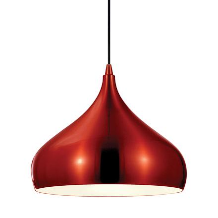 Подвесной красный плафон из металла (модерн)