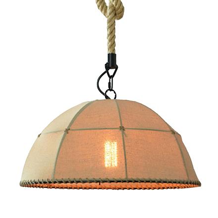 Подвесной абажур изо льна на канате (лофт)