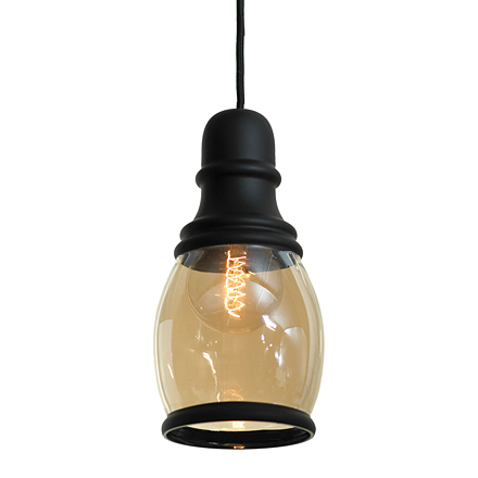 Подвесной светильник в стиле лофт (цвет черный, янтарный)