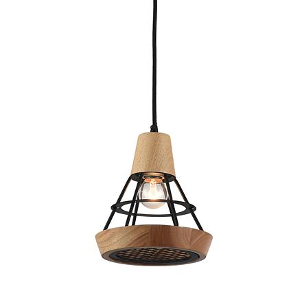 Подвесной светильник (цвет черный, дерево)