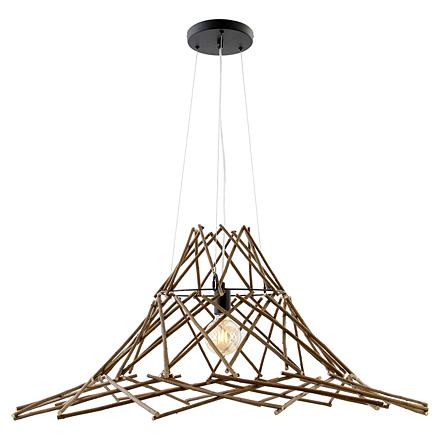 Подвесной светильник (цвет черный, дерево, коричневый)