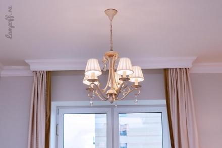 Люстра на 5 ламп с абажурами (цвет бежевый)
