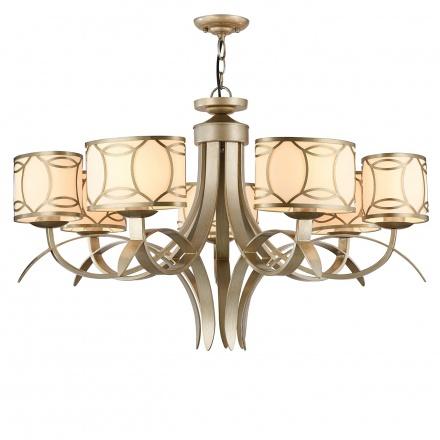 Люстра с абажурами в стиле ар-деко на 7 ламп (золото и кремовый)