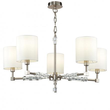 Люстра на 5 ламп с цилиндрическими абажурами белого цвета (никель)