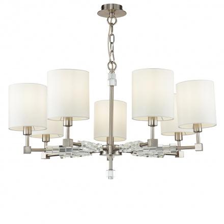 Люстра на 7 ламп с высокими цилиндрическими абажурами белого цвета (никель)