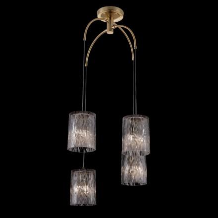 Подвесной светильник на 4 лампы (латунь, прозрачный)