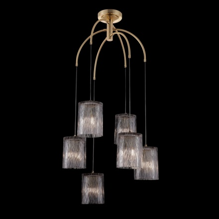 Подвесной светильник на 6 ламп (латунь, прозрачный)