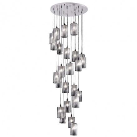 Подвесная люстра для лестницы (хром, прозрачный)