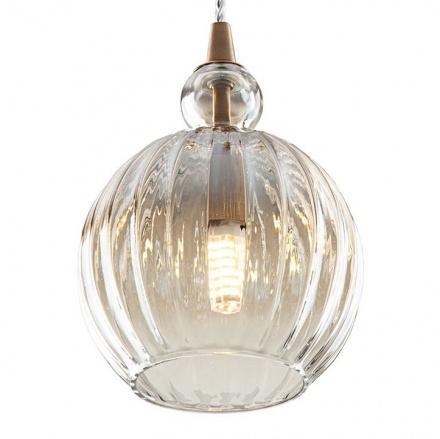 Подвесной светильник из стекла (латунь, янтарный)