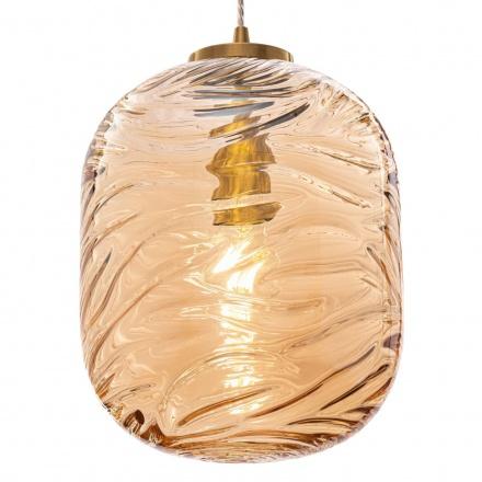 Подвесной светильник цилиндр (латунь, янтарный)