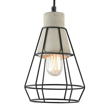 Лампа-подвес из металла и бетона