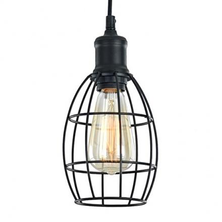 Подвесной светильник-лампа с решеткой овальной формы (цвет черный)