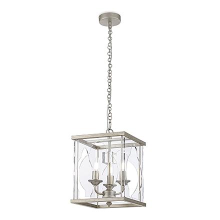 Люстра 3 лампы в стеклянном кубе (золото антик)