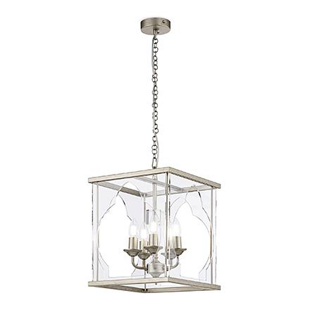 Люстра 5 ламп в стеклянном кубе (золото антик)