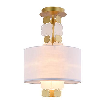 Потолочный светильник с абажуром (латунь, белый)