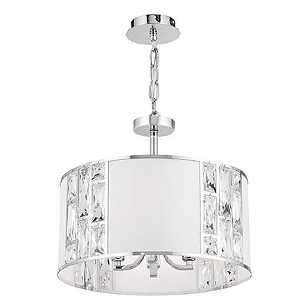 Подвесной светильник с хрусталем (хром, белый)