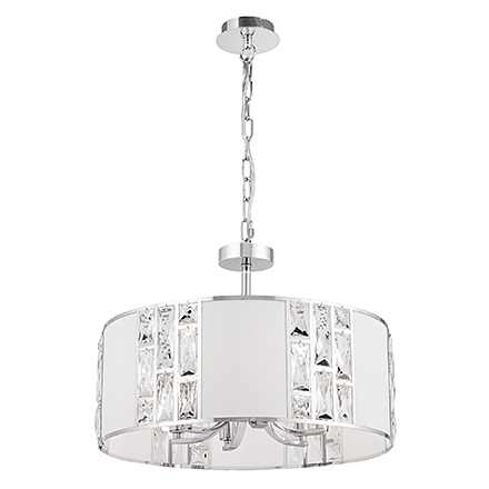 Подвесной светильник абажур (хром, белый)