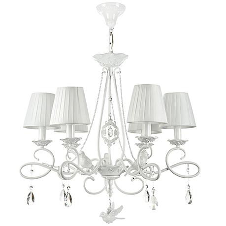 Люстра с птичками, бусами и абажурами на 6 ламп (цвет жемчужный белый)