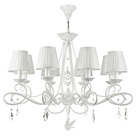 Люстра с птичками, бусами и абажурами на 8 ламп (цвет жемчужный белый)